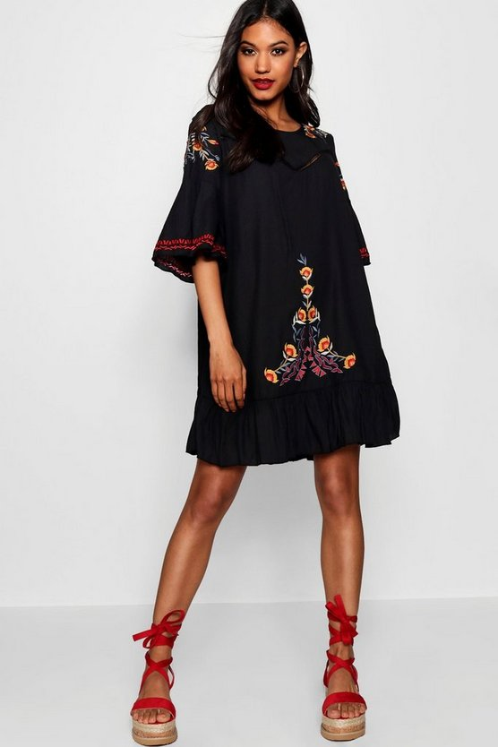 Embroidered Flared Sleeve Shift Dress