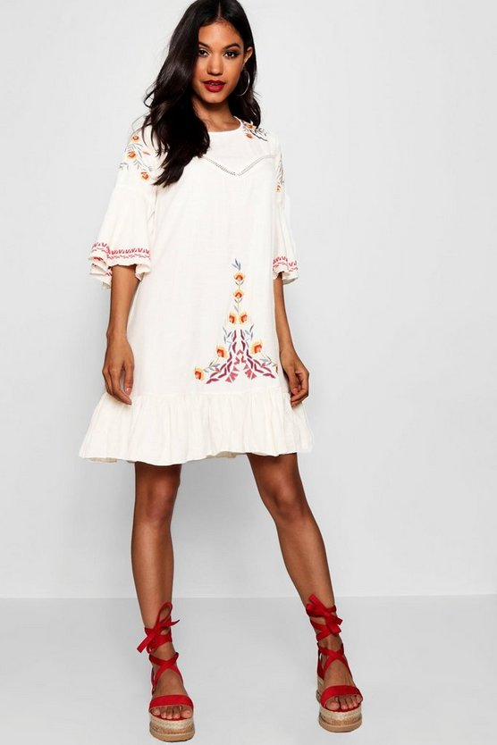 Harper Embroidered Flared Sleeve Shift Dress