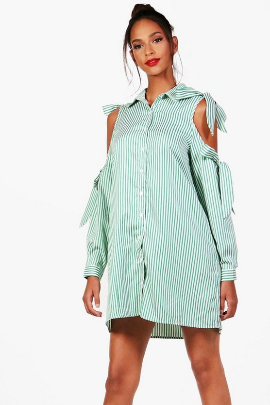 Beth Bow Tie Cold Shoulder Shirt Dress