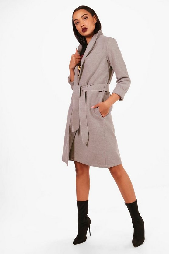 Stacey Belted Wool Look Coat