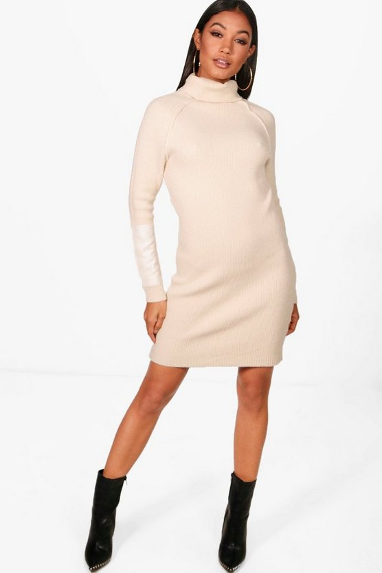 Heavy Knit Suede Patch Jumper Dress
