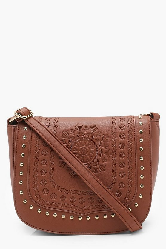 Boho Stud And Embossed Saddle Bag