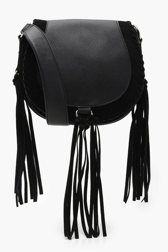 Pu And Suedette Mix Tassel Saddle Bag