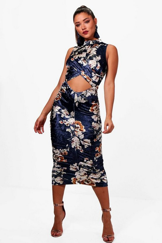 Lily Printed Velvet Cut Out Ruched Midi Dress