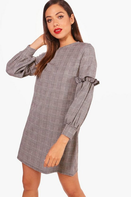 Sara Prince Of Wales Check Ruffle Shift Dress