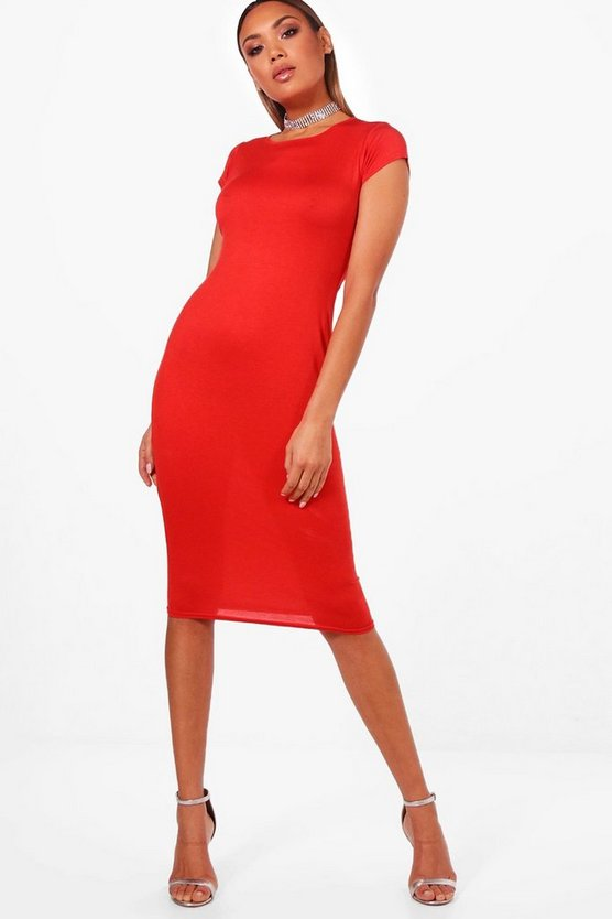 Cara Cap Sleeve Midi Bodycon Dress