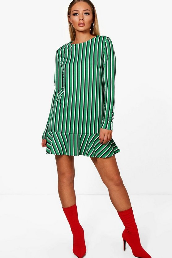 Eville Bold Stripe Drop Hem Long Sleeve Shift Dress