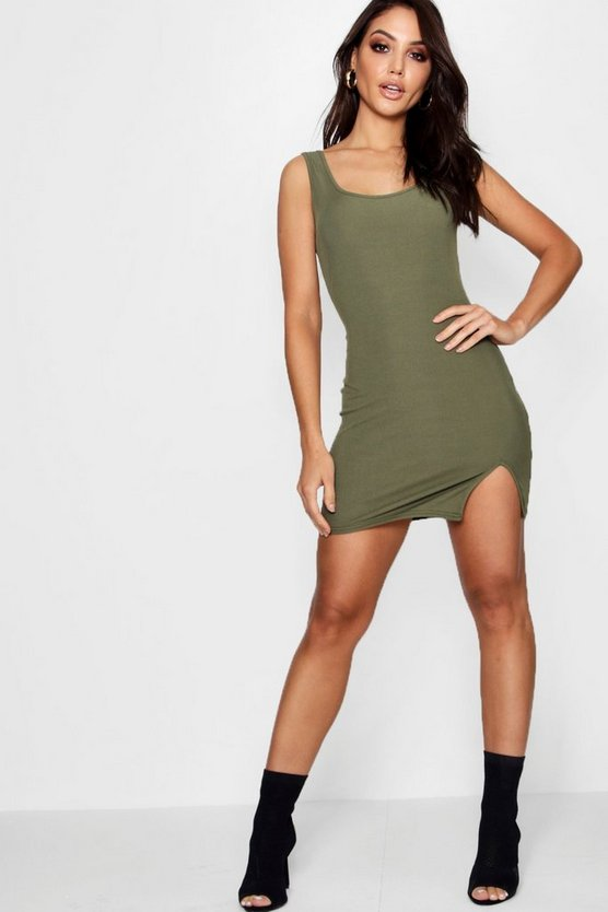 Katy Ribbed Square Neck Split Strappy Bodycon Dress
