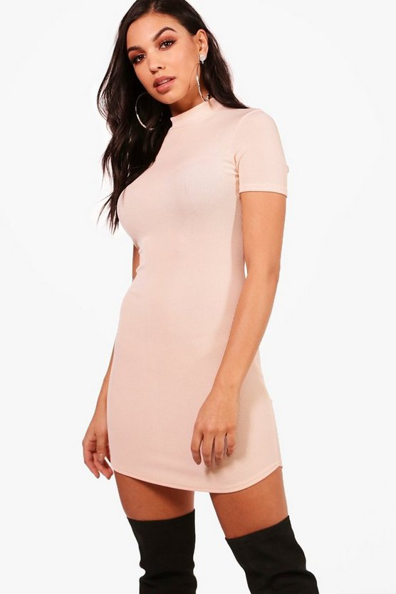 Naveen Ribbed High Neck Bodycon Dress