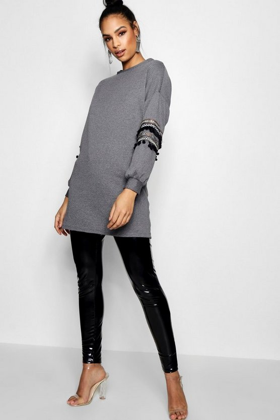 Geo Ribbed Longline Embroidery Sleeve Sweat