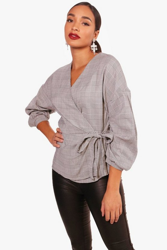 Cara Prince Of Wales Check Wrap Top