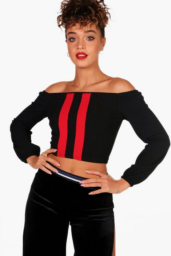 Lilly Stripe Front Long Sleeve Bardot Crop