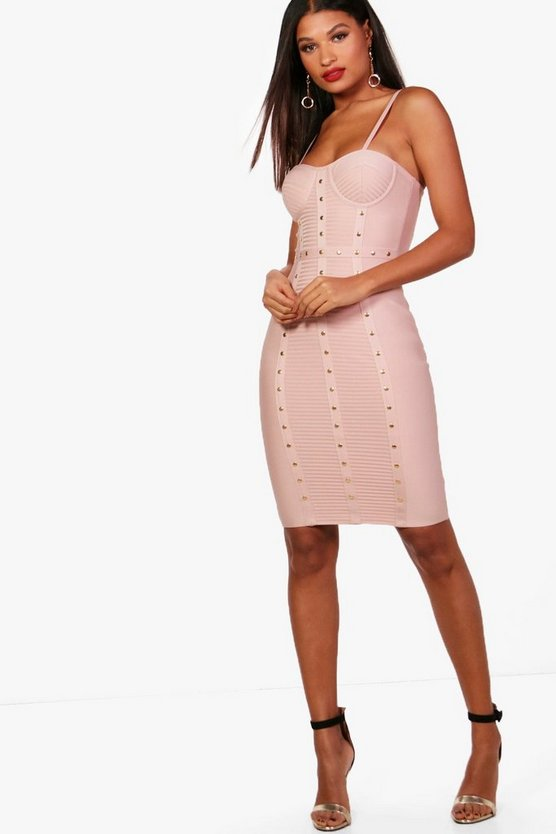 Tia Studded Panel Bandage Midi Dress