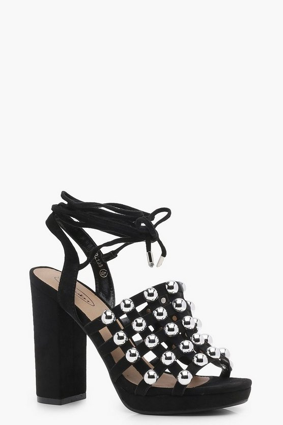 Poppy Caged Studded Wrap Heels