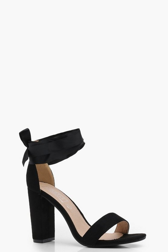 Katie Block Heel Ribbon Tie Up Heels
