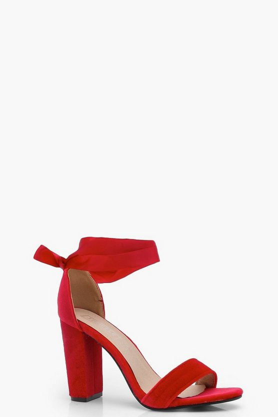 Block Heel Ribbon Tie Up Heels