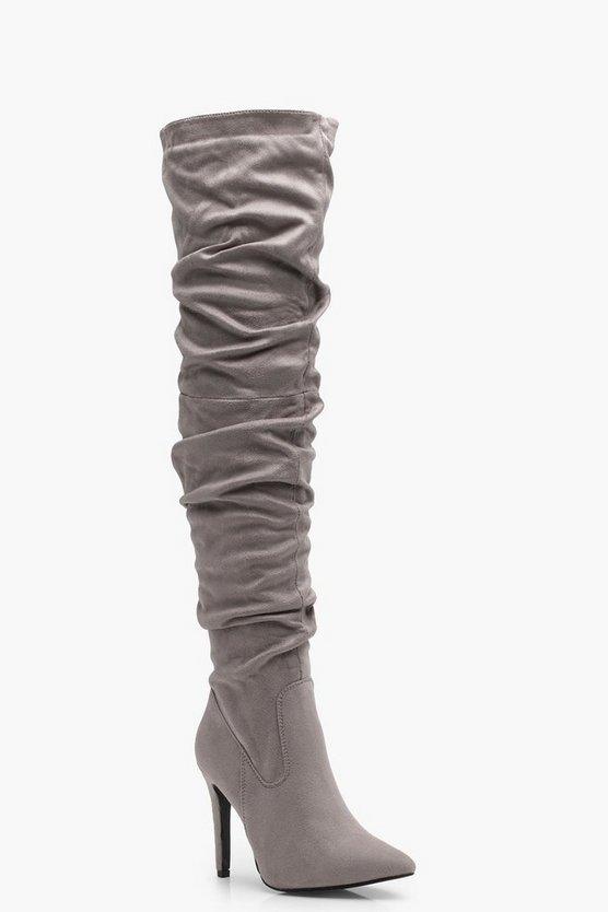 Lacey Ruched Over the Knee Boot