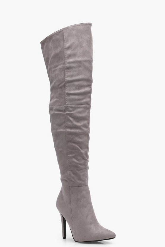 Keira Pointed Toe Heeled Thigh High Boot