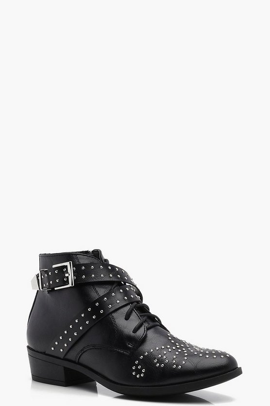 Lauren Pin Stud Strap Ankle Boot