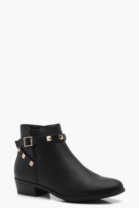 Lucy Stud Trim Wrap Strap Chelsea Boot