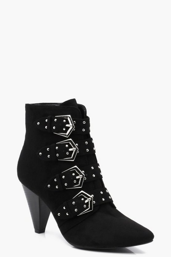Willow Studded Multi Strap Cone Heel Boots