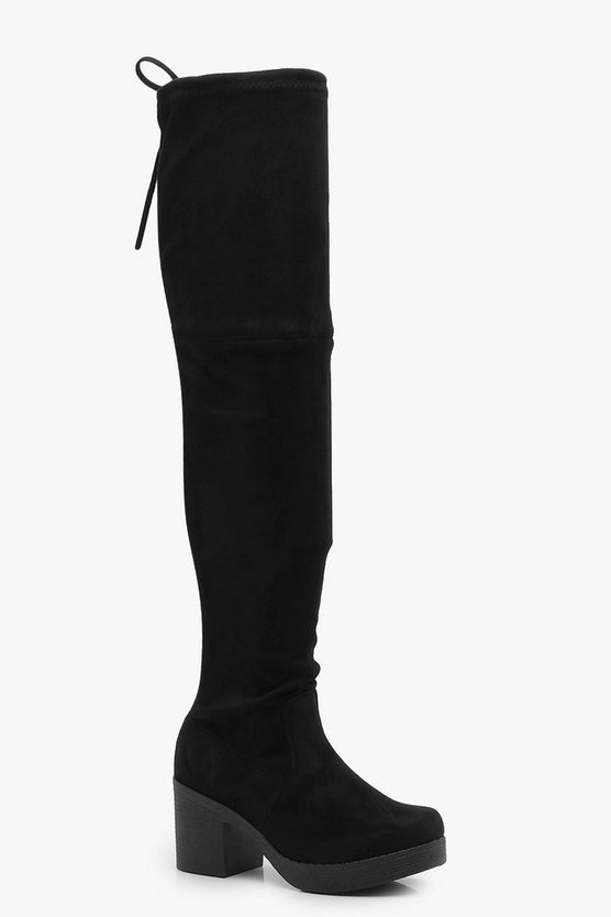 Eva Cleated Block Heel Over the Knee Boots
