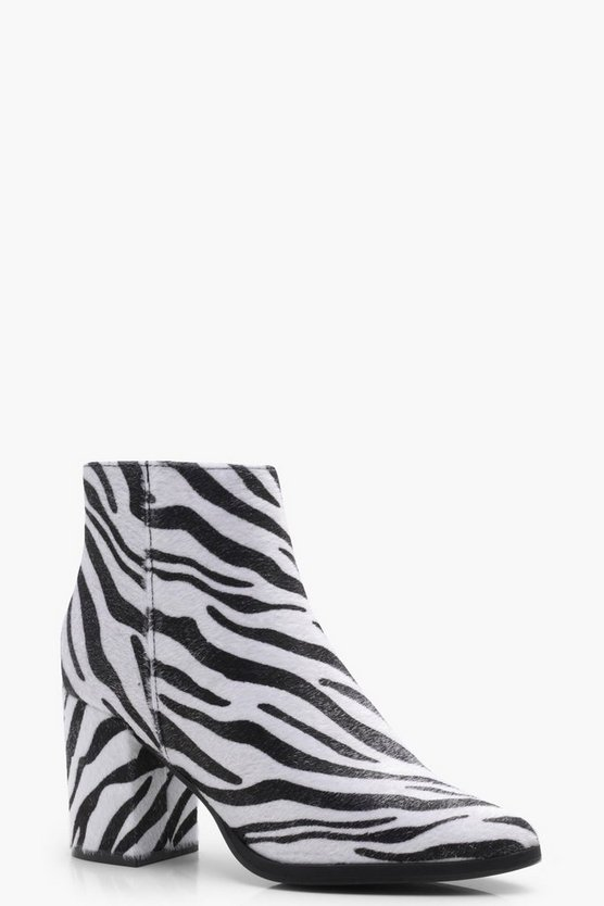 Zebra Print Pointed Toe Boot