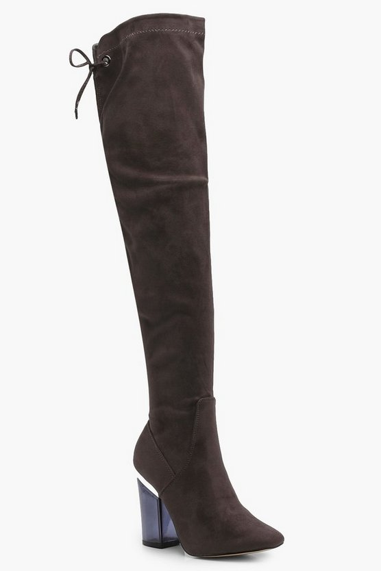 Millie Clear Block Heel Thigh High