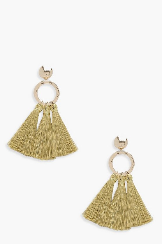 Hammered Hoop Tassel Earrings