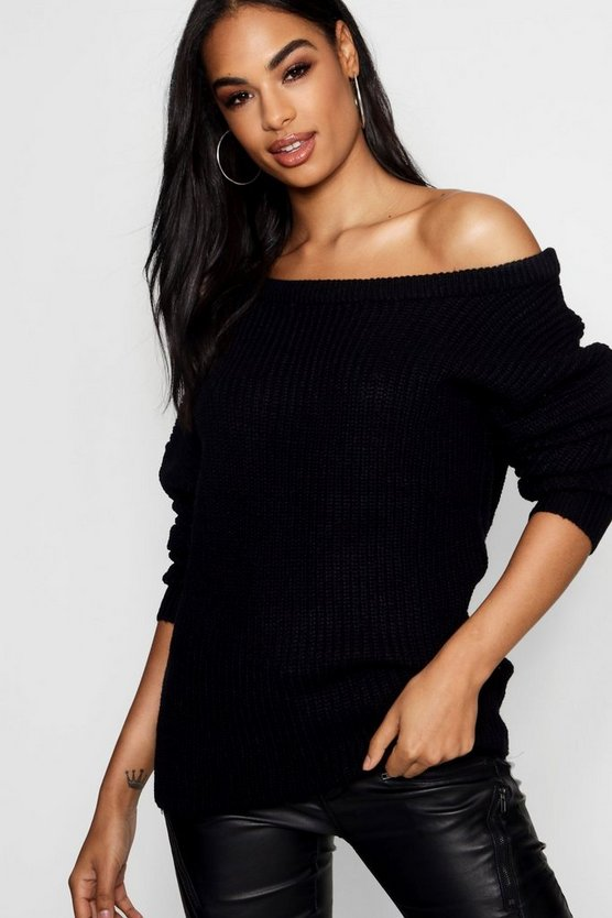 Natalie Oversized Off The Shoulder Fisherman Jumper