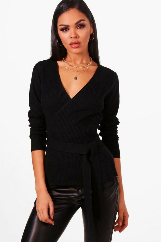 Rib Knitted Wrap Top