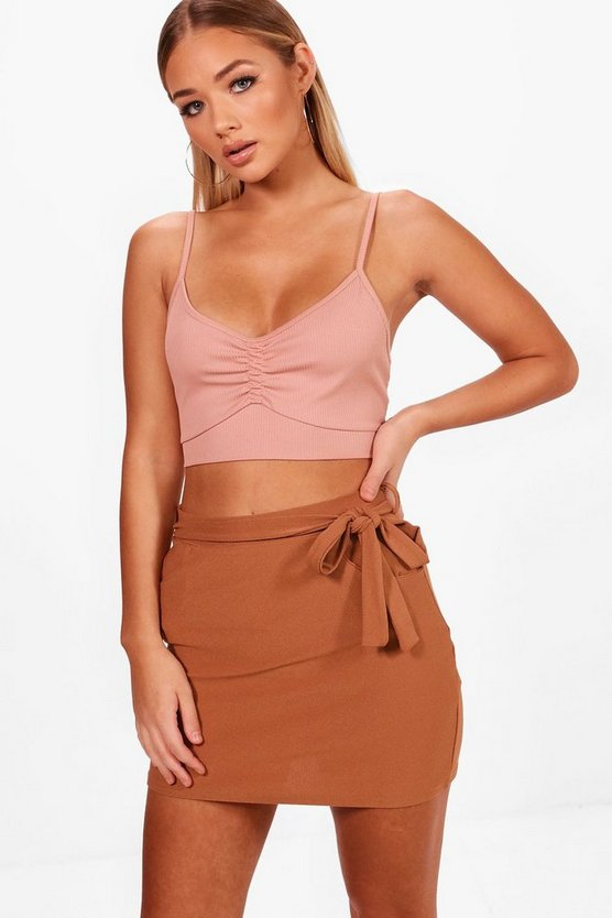 Tara Pocket Front Tie Waist Crepe Mini Skirt
