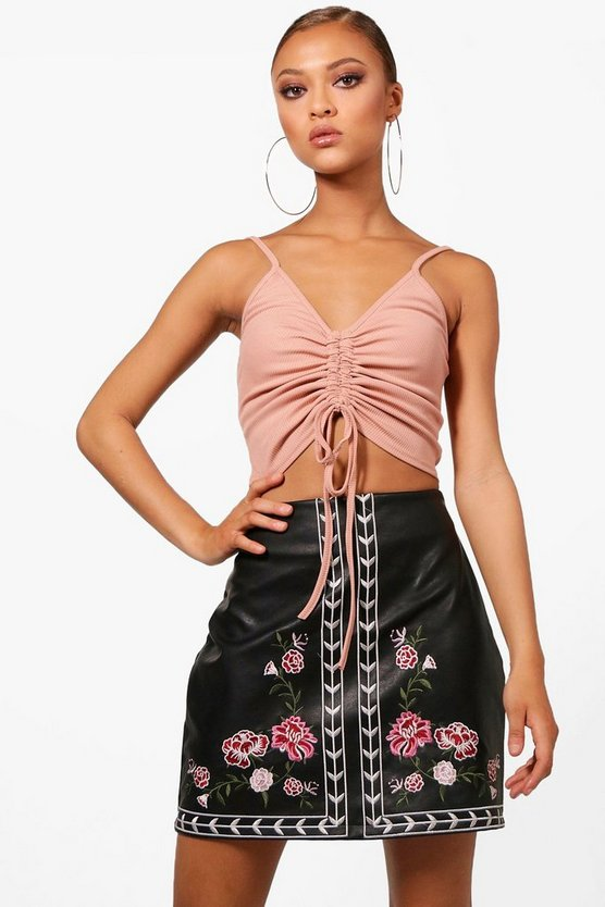 Embroidered Leather Look A Line Skirt