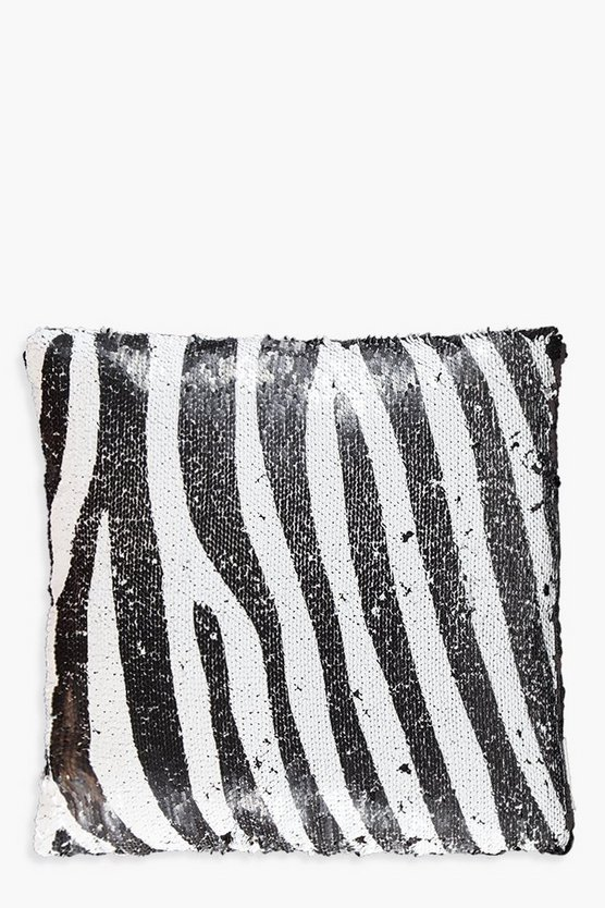 Reversible Zebra Sequin Cushion