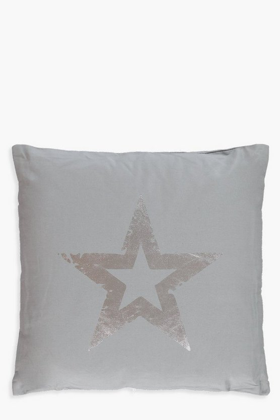 Grey And Silver Metallic Star Cushion