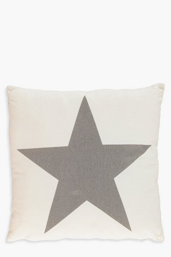 Cream And Grey Star Cushion
