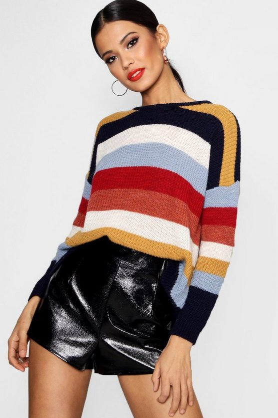 Ashleigh Oversized Stripe Slouch Knit Jumper