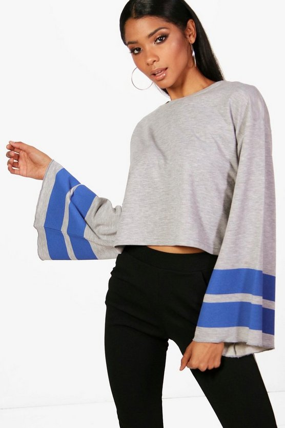 Maya Sports Stripe Wide Sleeve Sweat