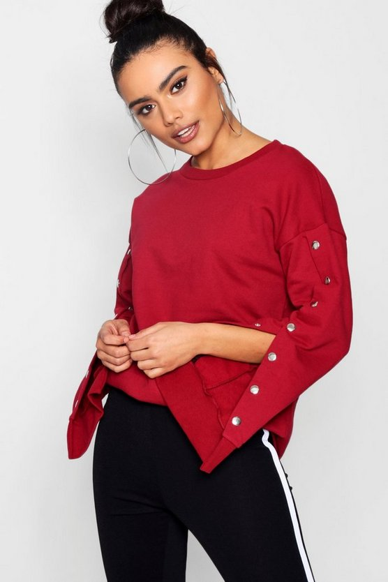 Meg Athleisure Popper Sleeve Sweat Top