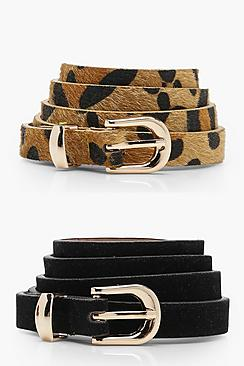 2 Pack Leopard And Suedette Belt