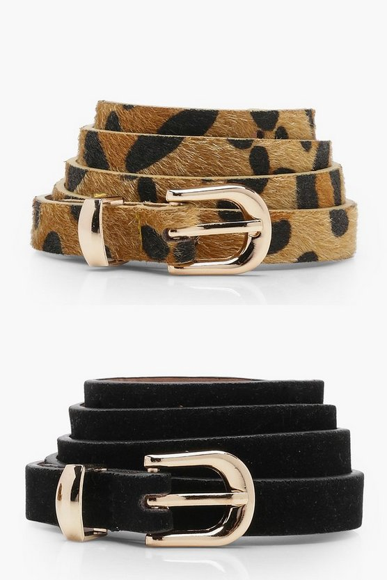 Amy 2 Pack Leopard And Suedette Belt