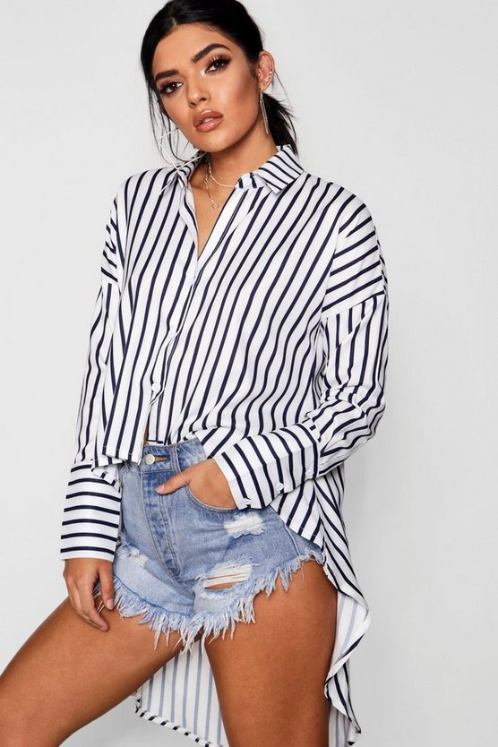 Anna Stripe High Low Shirt