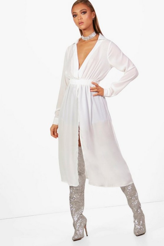 Twist Front Wrap Maxi Blouse