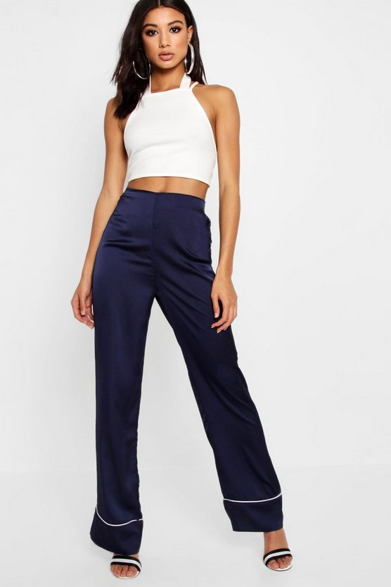 Amy Contrast Trim Wide Leg Trouser