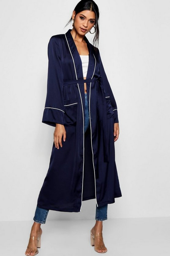 Amy Contrast Trim Robe Duster