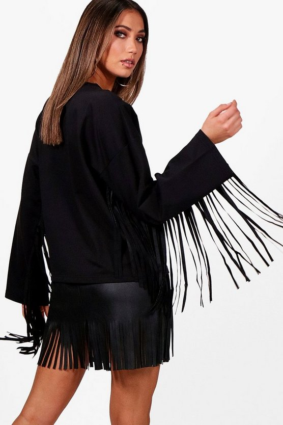 Fringed Trim Sleeve Crop Sweat