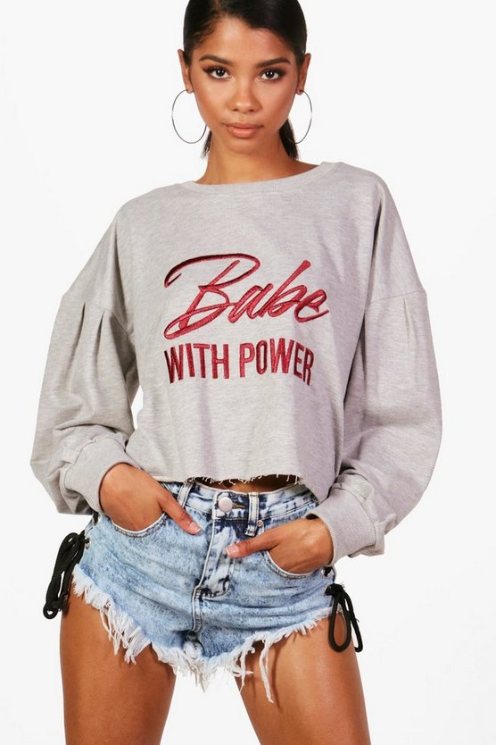 Leah Balloon Sleeve Slogan Embroidered Sweat