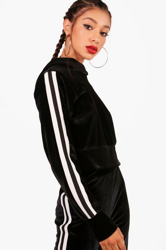 Athleisure Side Stripe Velour Hoodie