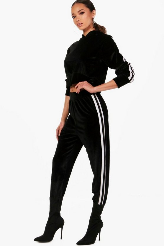 Eva Athleisure Side Stripe Velour Jogger