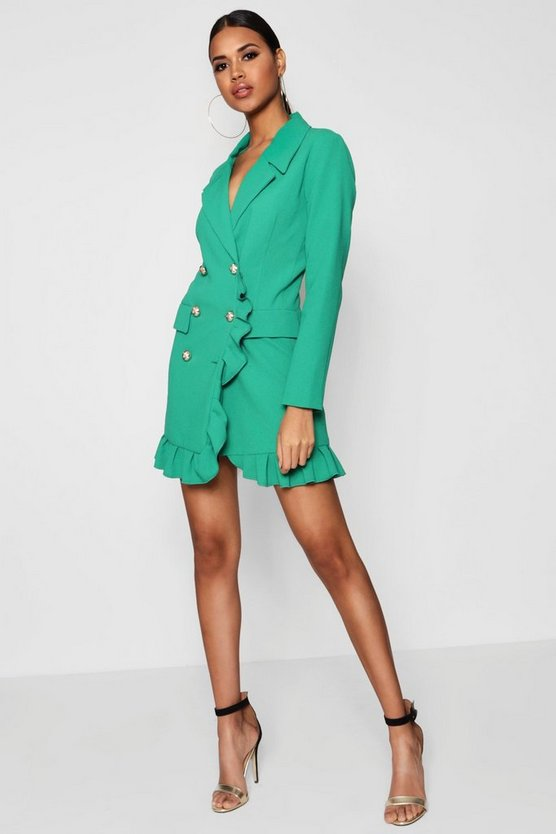 Kate Ruffle Double Breasted Blazer Dress